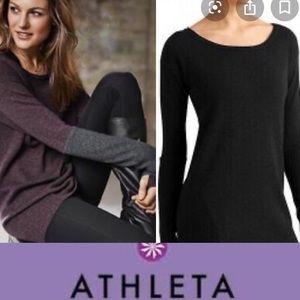 ATHLETA 100% Merino Wool Grey/Black Sweater